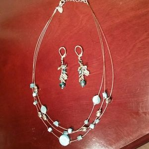 Illusion Bead Necklace/Earrings Set